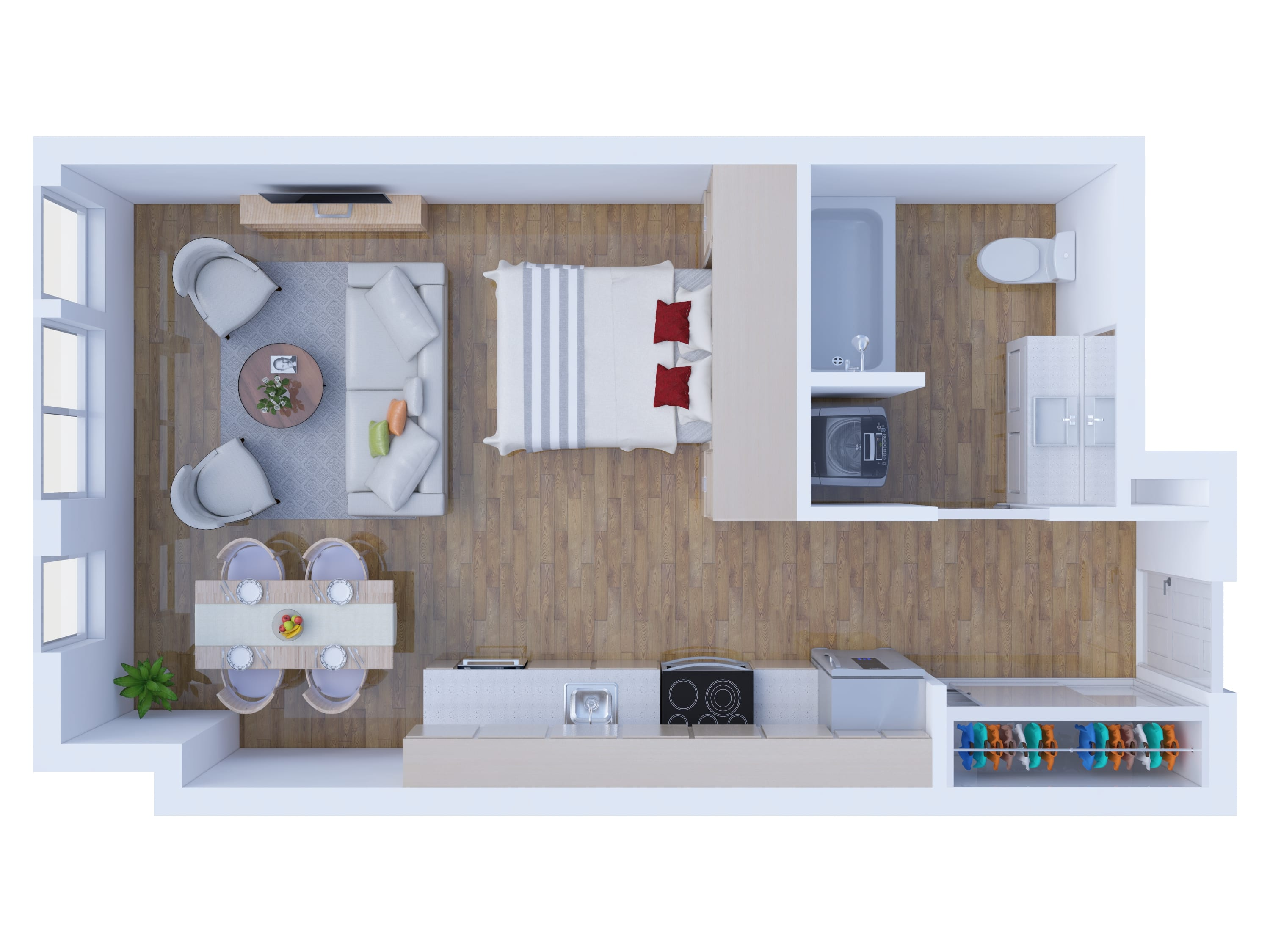 studio, 1, 2 & 3 bedroom apartment floor plans - 2d and 3d